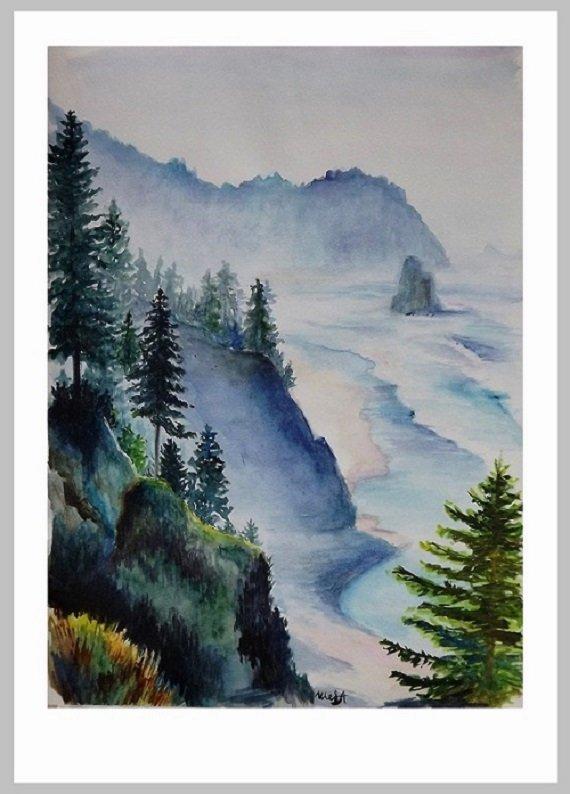 Watercolor painting landscape -Watercolor painting-watercolor trees-Wall Art-landscape art-Mountain watercolor- commission painting-lake art