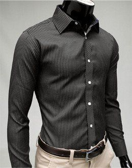 Men's Business Casual Shirt | Black long sleeve shirt, Summer sale ...