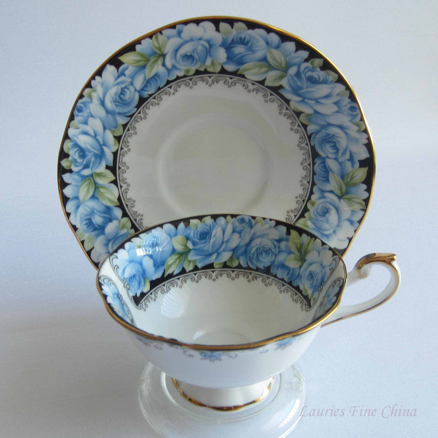 Free Shipping QUEENS by Rosina China ELIZABETH ROSE Bone China Tea Cup and Saucer by LauriesFineChina on Etsy https://www.etsy.com/listing/285568513/free-shipping-queens-by-rosina-china