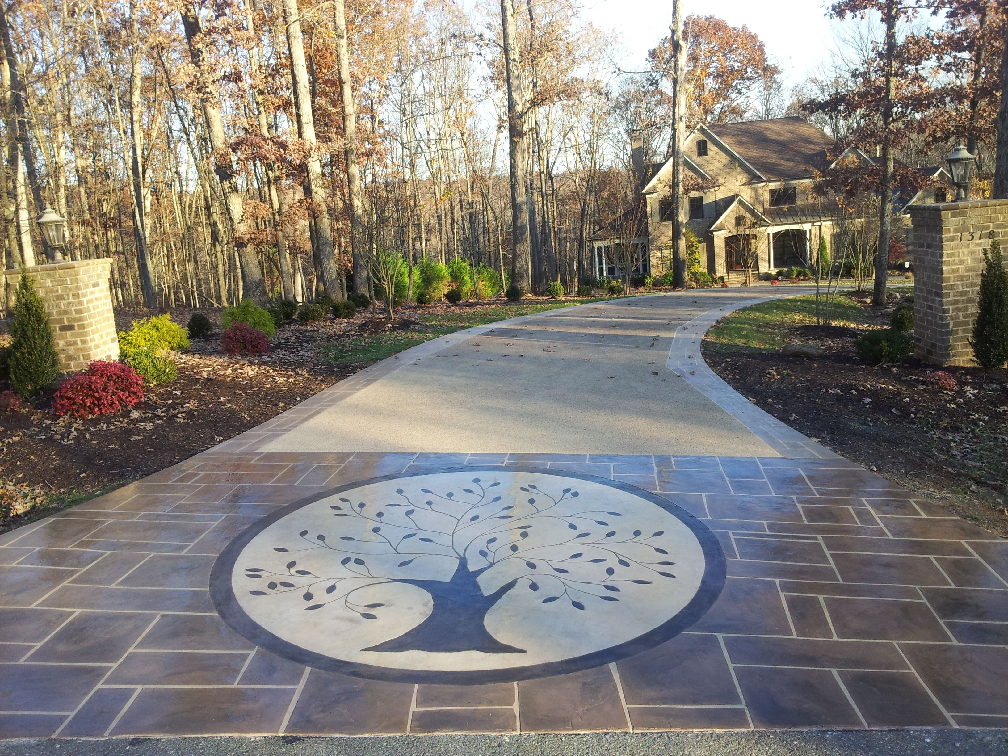 Decorative Concrete Driveway This Is A Driveway That Needed Function And A Facelift T Concrete Driveways Decorative Concrete Driveways Stamped Concrete Patio