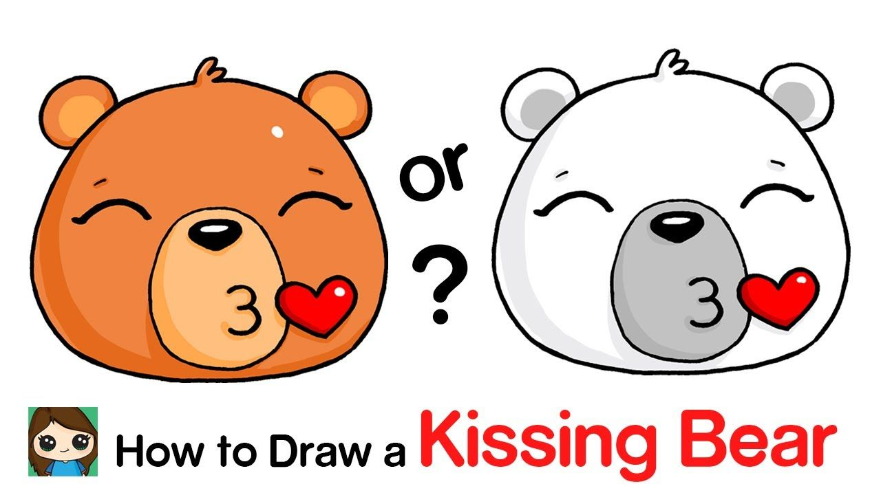 How To Draw A Polar Bear Kissing Emoji Face Easy Youtube Kiss Emoji Drawings Simple Cartoon
