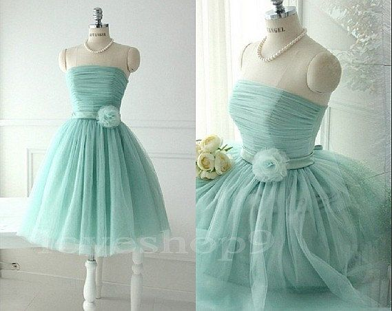 2014 New Mint Strapless Knee Length A-line Bowknot Ruched Tulle ...
