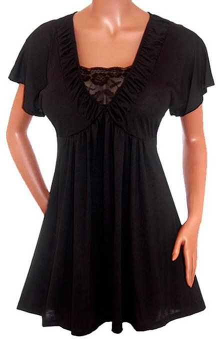 2675a98e108 Amazon.com  FUNFASH WOMEN PLUS SIZE BLACK LACE EMPIRE WAIST PLUS SIZE TOP  SHIRT MADE in USA  Clothing