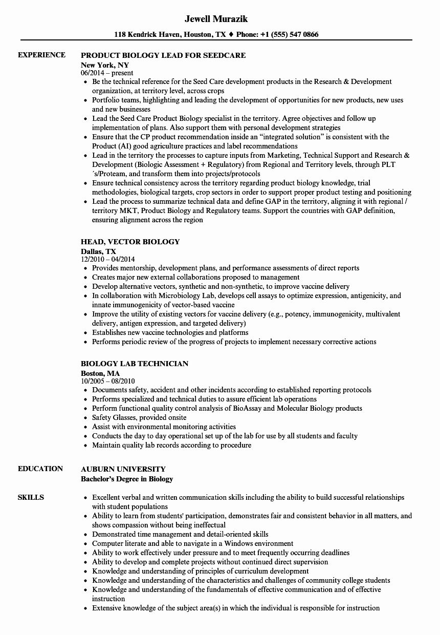 20 Biology Research assistant Resume in 2020 Resume