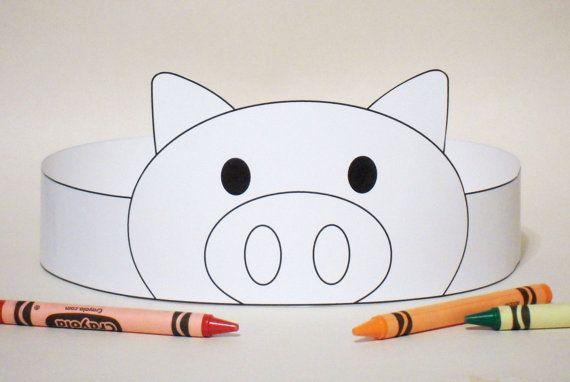 Pig Paper Crown COLOR YOUR OWN - Printable   Máscaras, Carnavales y ...