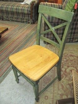 Pier One Dining Chair Green Stained W X Back