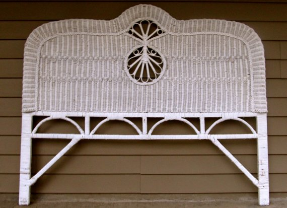 White Wicker Headboard Queen Size Vintage Victorian Coastal Living
