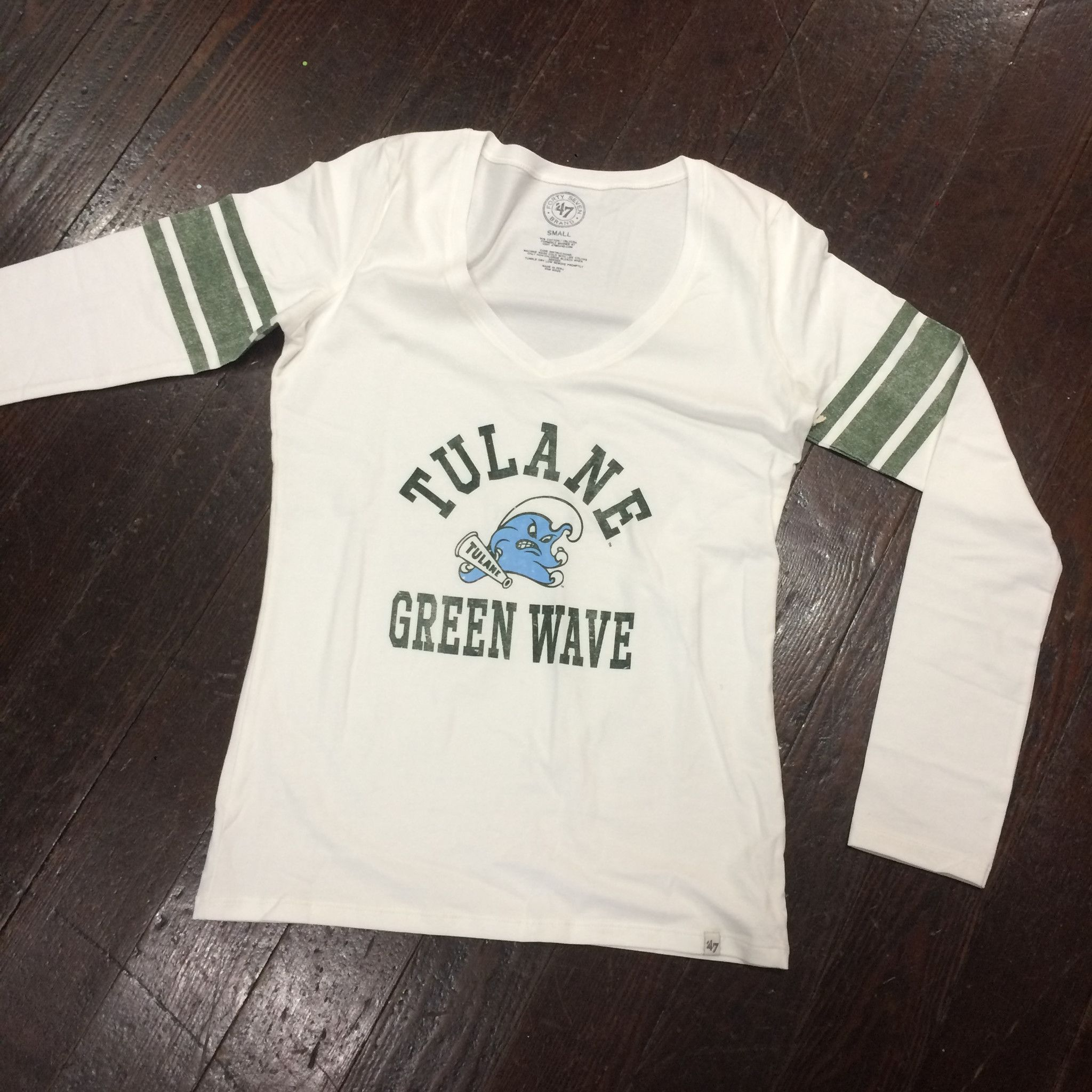 Home college tulane green wave tulane green wave silver plated - Tulane Homerun Long Sleeve V Neck