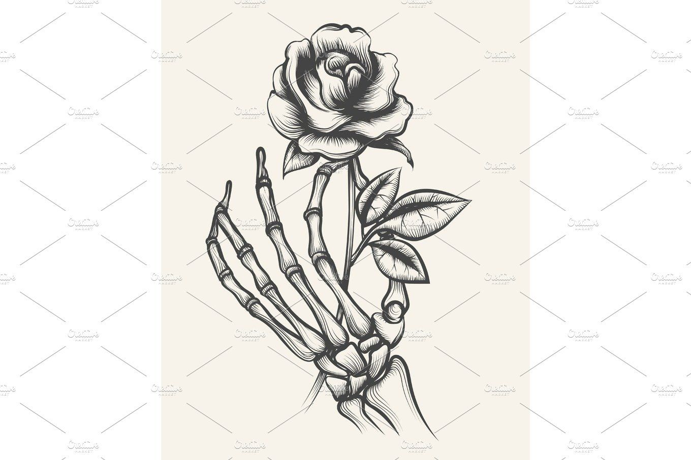 Skeleton hands with rose flower How to draw hands