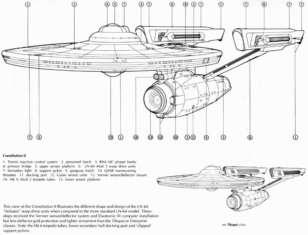Perfect Schematic Rendering Of Constitution Class (refit) Starship