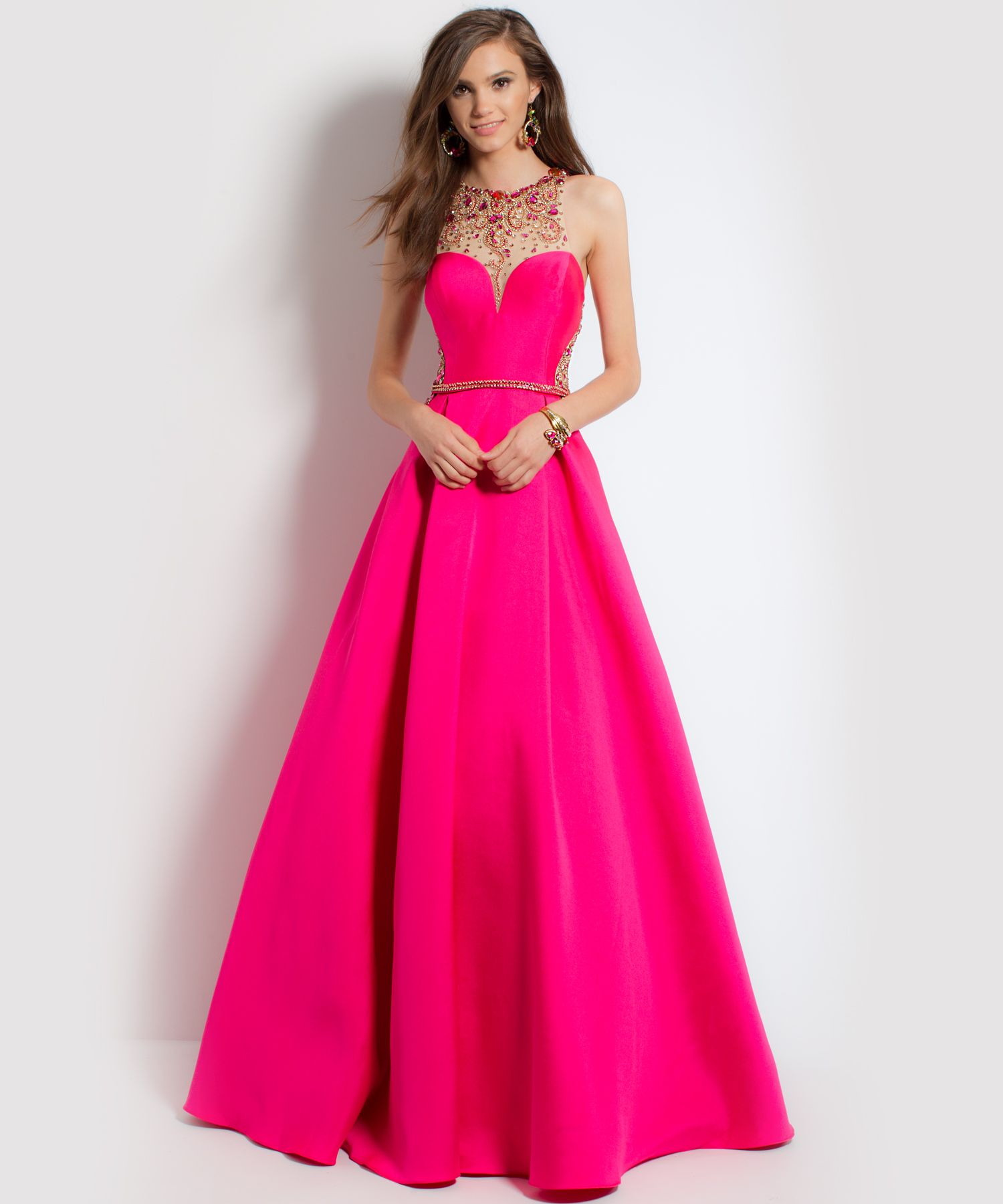 Bright Pink Mikado Ballgown Dress With Illusion Neck. A true ...