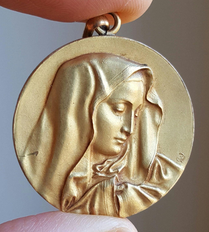 Vintage Spanish Blessed Virgin Mary Medal Pendant 18K Gold Plated