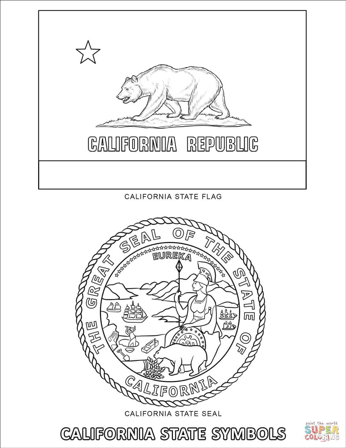 California State Symbols Coloring Page Free Printable Coloring Pages State Symbols Flag Coloring Pages California State