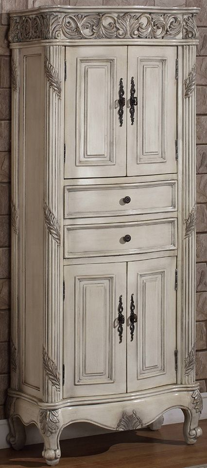 72 Inch Tall Freestanding Linen Cabinet Antique Ivory Finish Item 7629 Traditional Design Makes This Perfect For Hallways Or As Additional Storage In