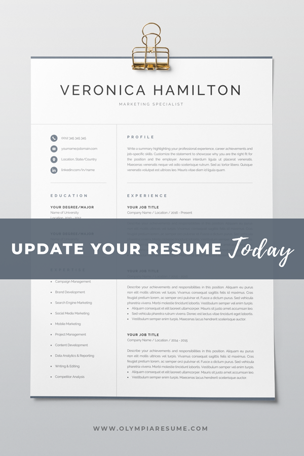 How To Update Your Resume   Professional Resume Template 1 And 2 Page Resume Modern