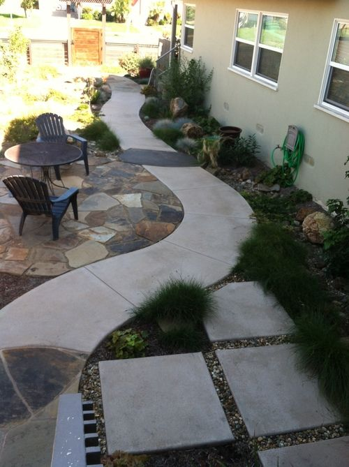 Permeable flagstone and concrete paving in a drought ...
