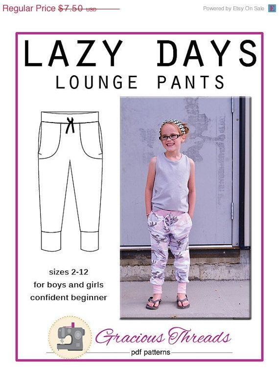 Lazy Days Lounge Pants pdf sewing pattern 2T-12 | Patrones que ...
