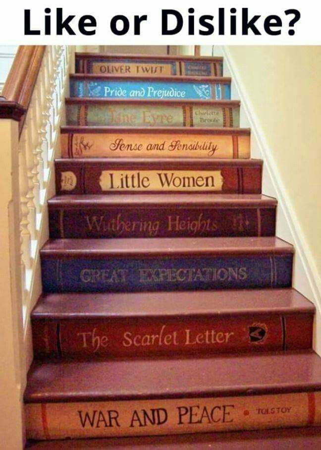 Classic Book Titles Painted On Stair Risers. What A Fun Idea!