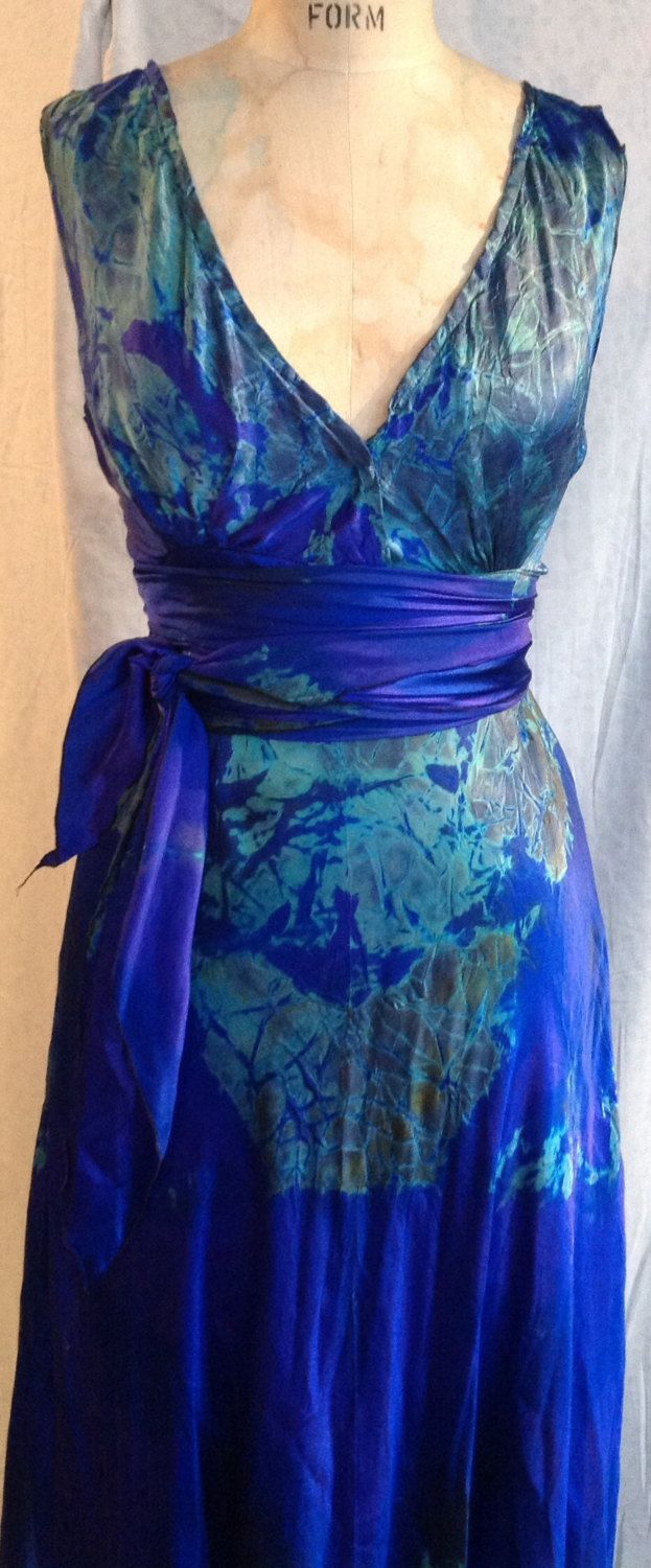 royal blue and acid green tie dye silk V-neck wedding dress with ...