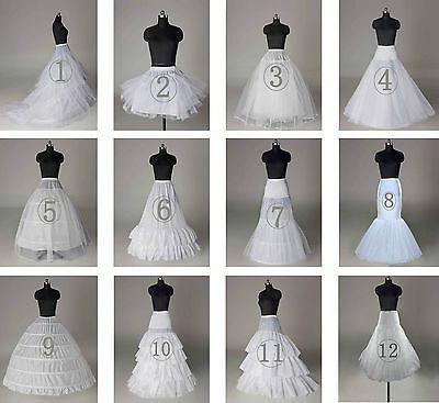 Nuevo blanco neto 3 - 6 Aros De Boda nupcial Petticoat enagua resbalones Crinolina
