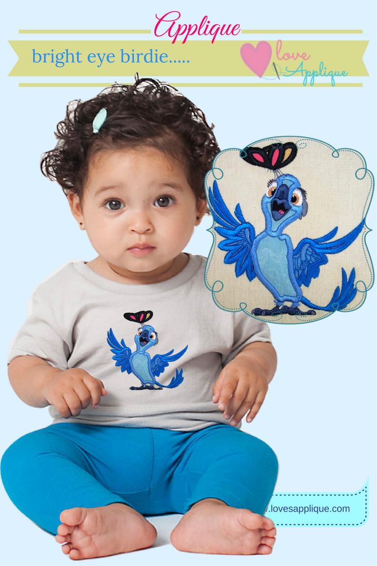 Rio Parrot Applique. Rio Designs. Rio Embroidery Designs. Rio Party Ideas. Disney Rio. www.lovesapplique.com
