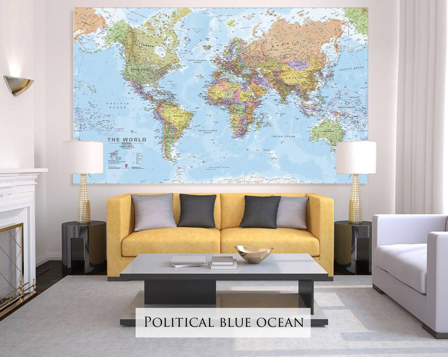Giant canvas world map canvases nest and kitchens giant sized canvas world map blue political gumiabroncs Image collections