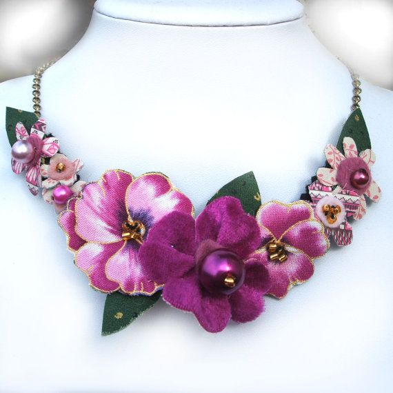 Pink Pansy Fabric Flower Statement Necklace by CraftyJoDesigns