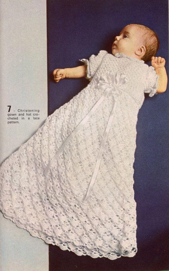 Vtg 70s MON TRICOT BABY Knitting Crochet Christening Gown Bonnet Gifts Patterns