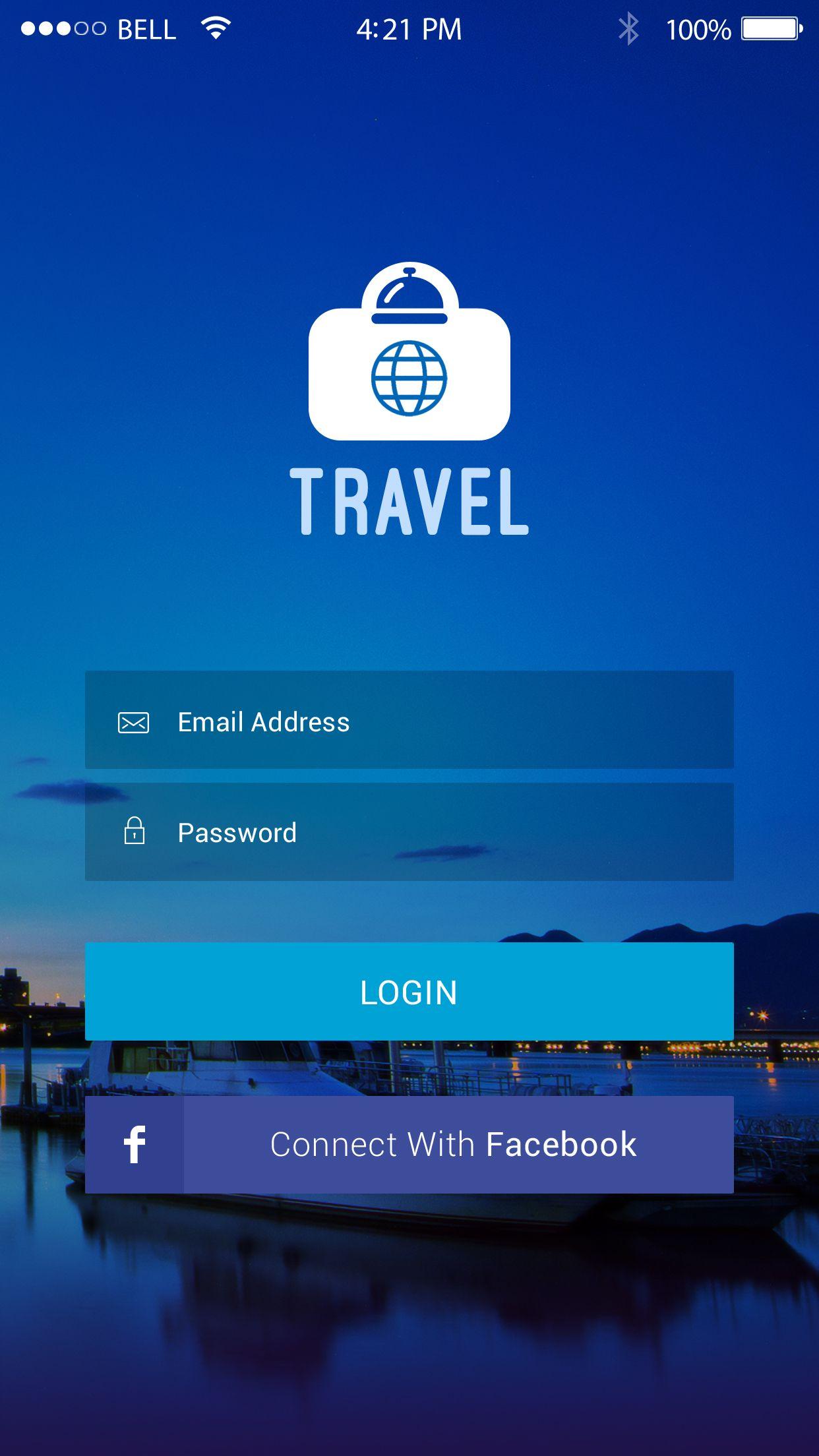 Login Screen Designs Travel app, App, App design