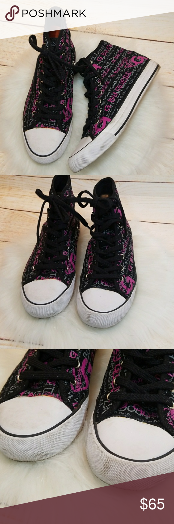 RARE Guess high top converse style graffiti shoes size 8.5