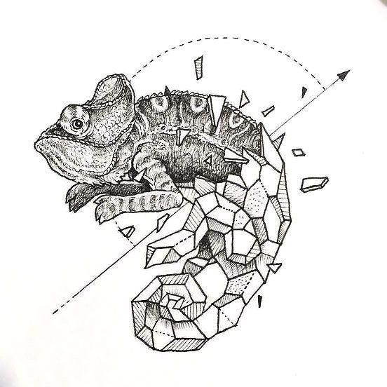 Aztec Chameleon Tattoo: Geometric Lizard Tattoo Design