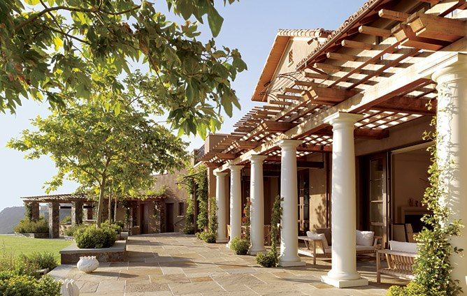Look Inside A Mediterranean Style Residence In California S Napa Valley Porch Design Mediterranean Style Homes House With Porch