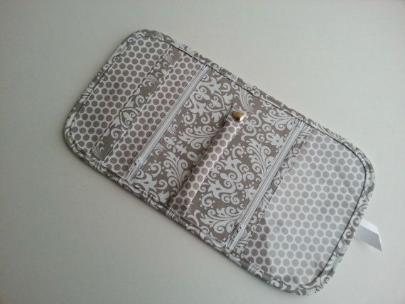 Quilted style Travel Jewelry Organizer Pouch in by SassySaxDesign
