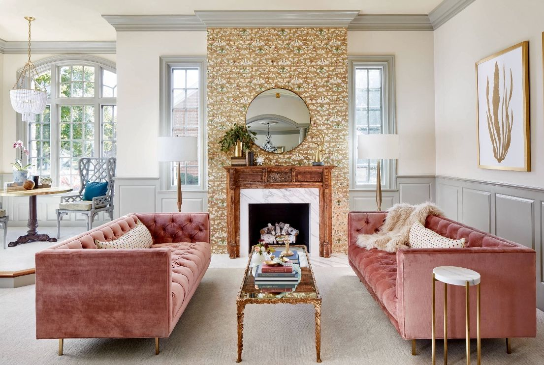 Eclectic Colorful Living Room Decor With Rose Velvet Tufted Sofa Homedecor Colourful Living Room Decor Glamour Living Room Tufted Sofa Living Room Beautiful colorful living rooms