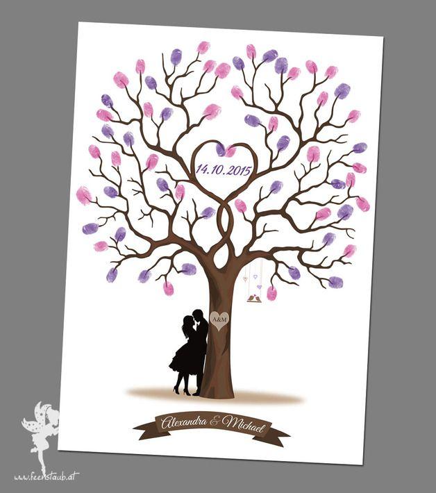 Hochzeitsbaum wedding tree leinwand papier fingerabdr cke g stebuch und gast - Leinwand selbst gestalten mit text ...