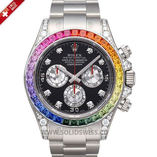 80f0c478d85 Rolex Daytona White Gold Rainbow Swiss Replica