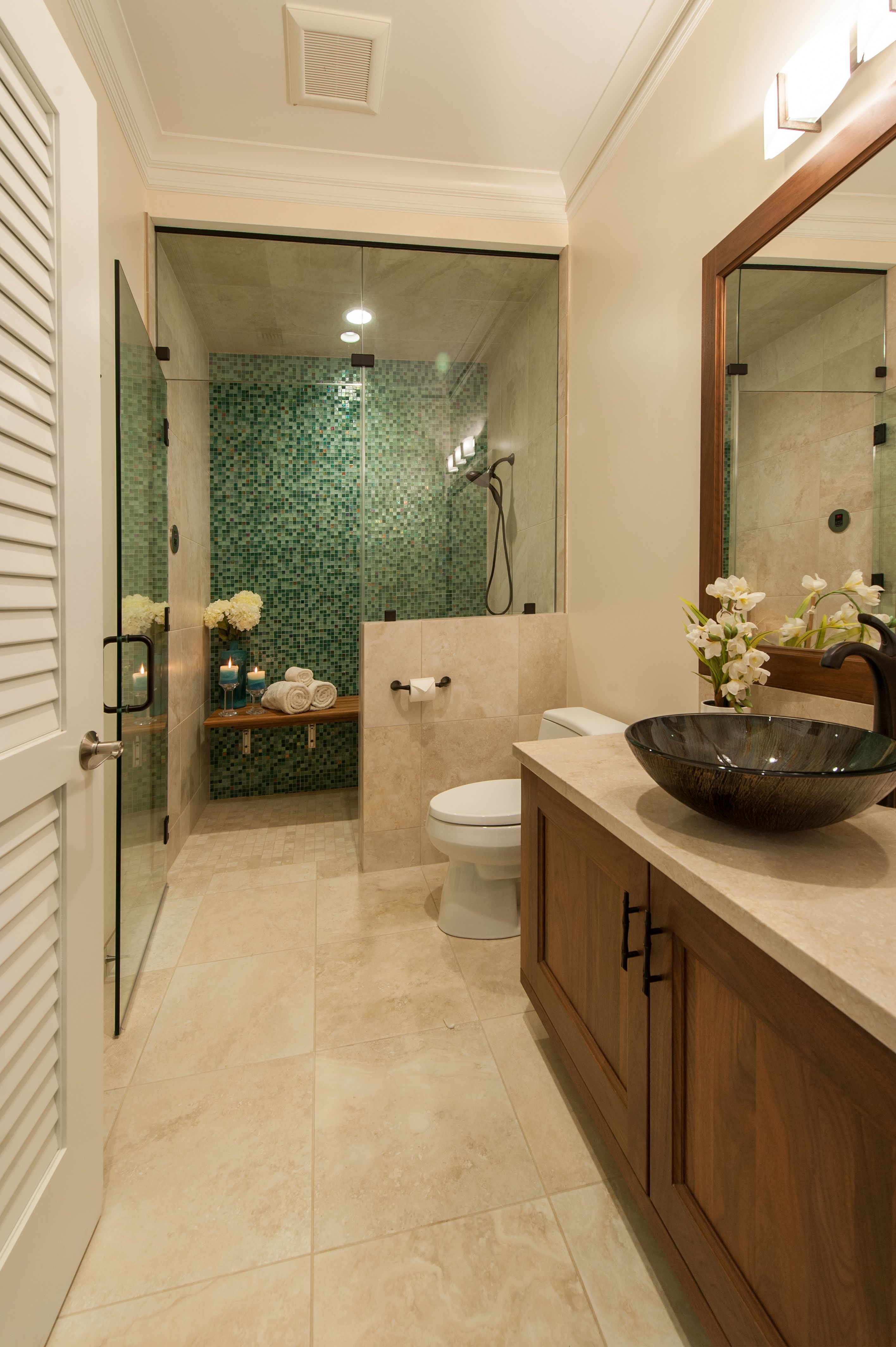 This multipurpose bathroom can be used as a regular guest shower or converted to a