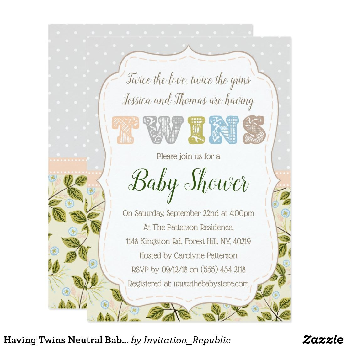 Having Twins Neutral Baby Shower Invitation