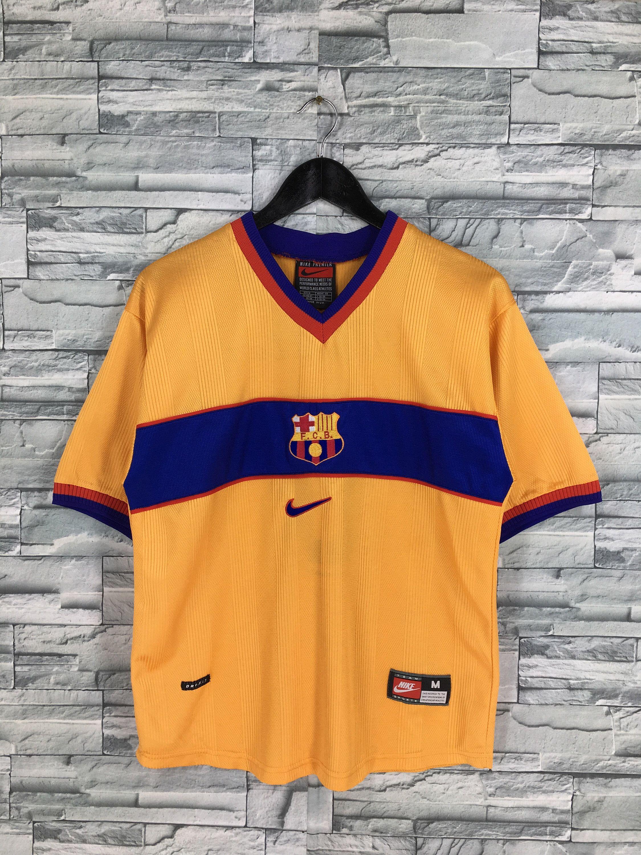 Vintage 90 S Nike Premier Jersey Medium Barcelona Football Etsy Barcelona Football Soccer League Football Club