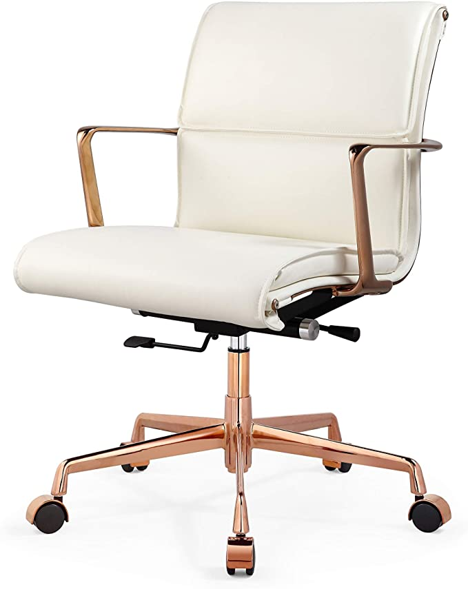 Amazon Com Meelano N Office Chair One Size Rose Gold White Kitchen Dining In 2020 Home Office Chairs Rose Gold Bedroom Gold Office Chair
