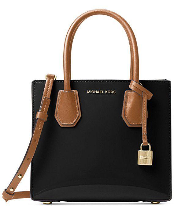 Michael Kors Studio Mercer Medium Patent Messenger Bag Black