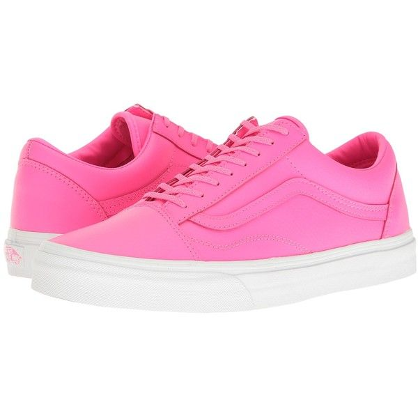 Vans Old Skool ((Neon Leather) Neon Pink/True White) Skate Shoes (£52) ❤ liked on Polyvore featuring shoes, sneakers, white skate shoes, neon sneakers, leather skate shoes, vans shoes and neon pink shoes