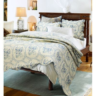 Cozy Line Home Fashion Reminiscent Mood 3 Piece Quilt Set Size: Full/Queen, Color: Blue