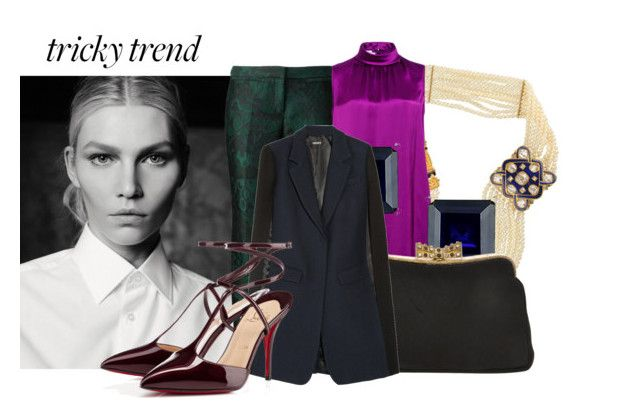 """""""Untitled #10109"""" by pocahaunted666 ❤ liked on Polyvore featuring Burberry, Oscar de la Renta, Miadora, THE GATHERING GODDESS VINTAGE, DKNY, Christian Louboutin, women's clothing, women's fashion, women and female"""