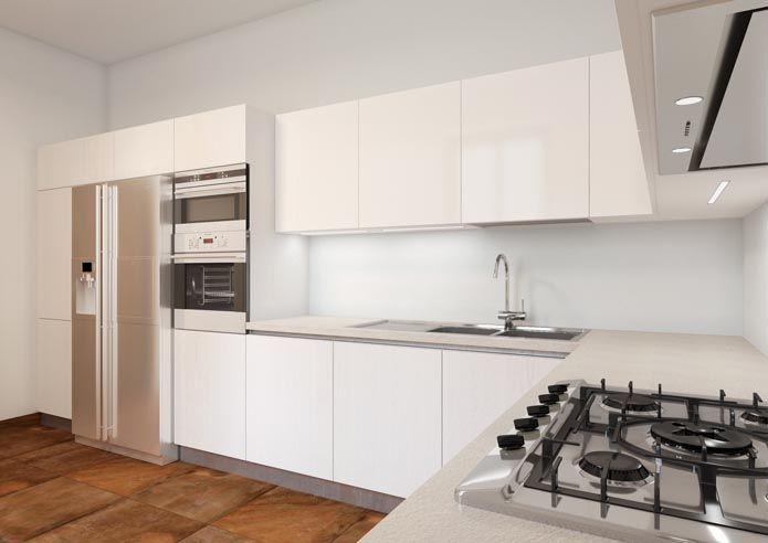 Cucina con frigo americano da incasso e colonna forni | Kitchen ...