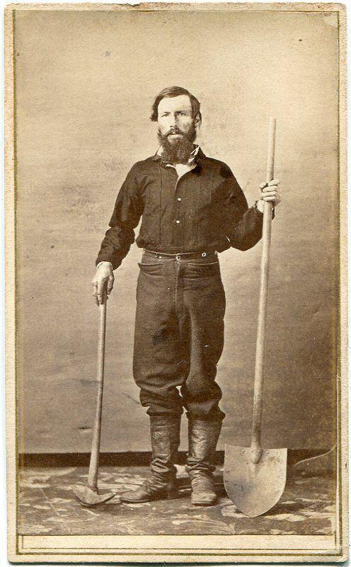California Gold Miner Prospector Pick Axe & Shovel Oroville CA Kusel CDV Photo