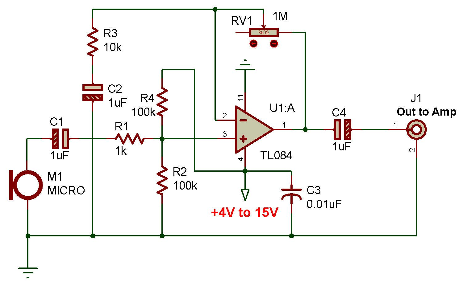 Http Www Zpag Net Electroniques Audio2 Low Dynamic Microphone Preamplif Tl084 Html Electronics Circuit Electronics Projects Pcb Design