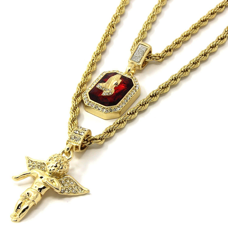 Mens gold angel u p ruby bundle set cz pendant hip hop