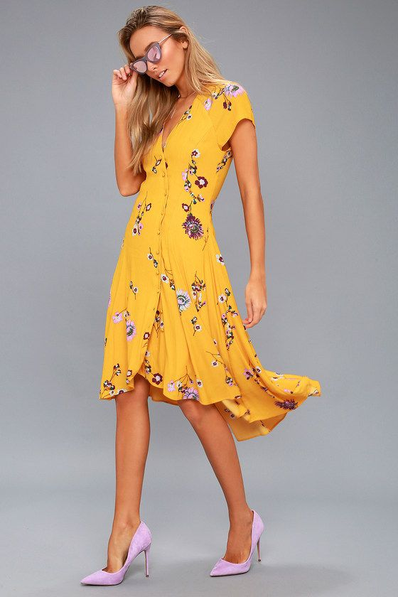 877b41c6765d Lulus | Lost in You Golden Yellow Floral Print Midi Dress | Size Small |  100% Polyester