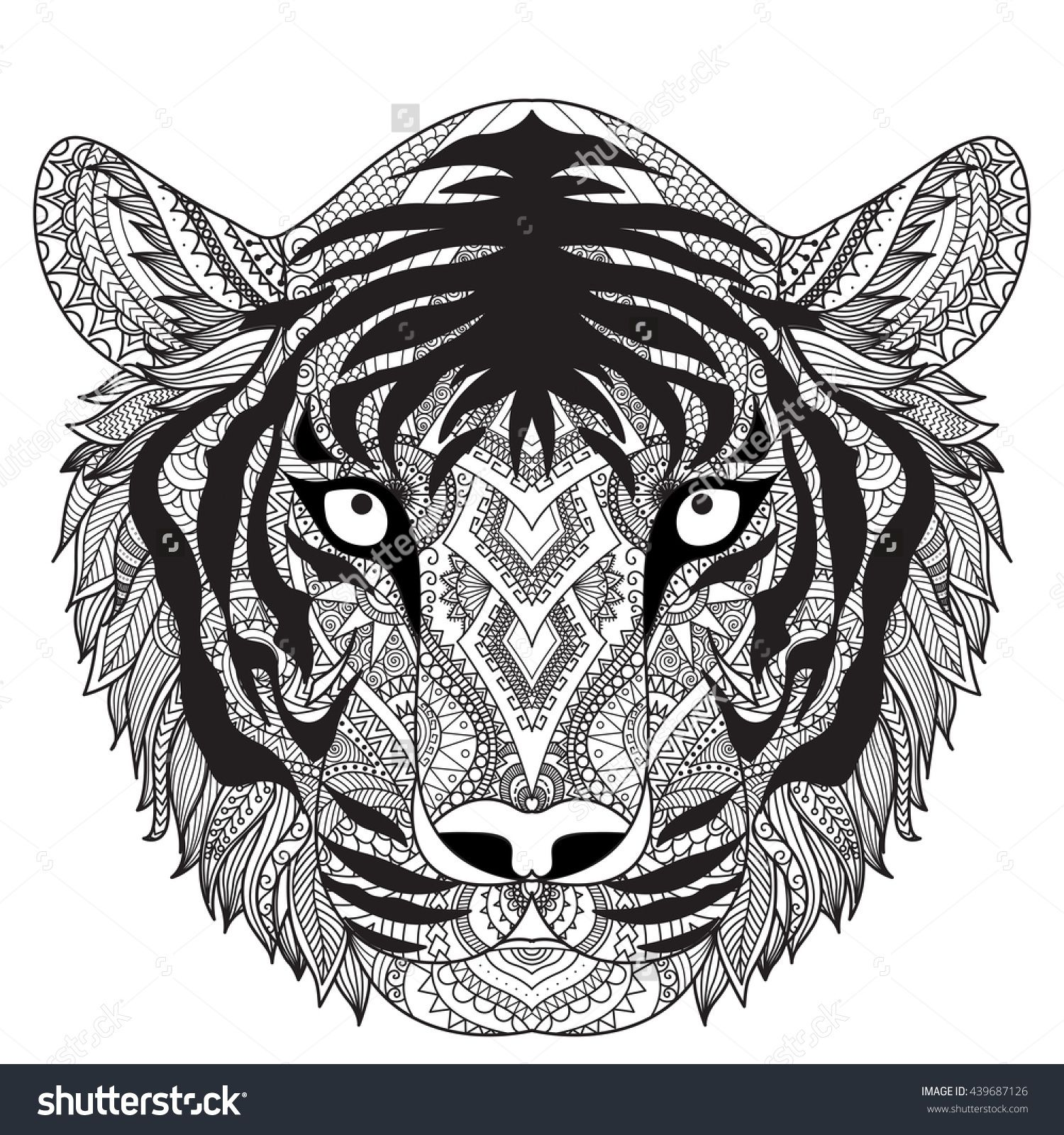 The coloring book clean - Clean Lines Doodle Design Of Tiger Face For T Shirt Graphic Tattoo